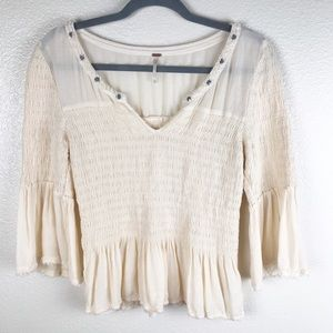 Free People Ivory Peplum with Bell Sleeves